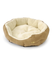 Medium Faux Suede & Sherpa Cozy Pet Bed