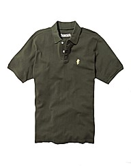 Jacamo Khaki Embroidered Polo Long