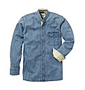 Jacamo Long Sleeve Denim Grandad Shirt
