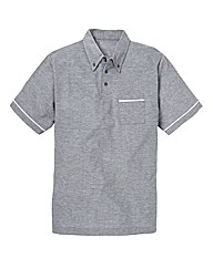 Jacamo Piped Pique Polo Shirt Long