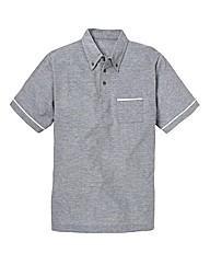 Jacamo Piped Pique Polo Shirt Long