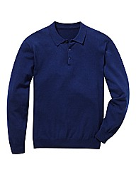 Jacamo Long Sleeve Knitted Polo