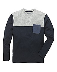 Jacamo Long Sleeve Colour Block T-Shirt
