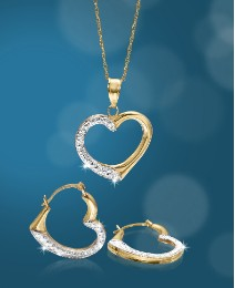 9ct Gold Heart Necklace & Earrings Set