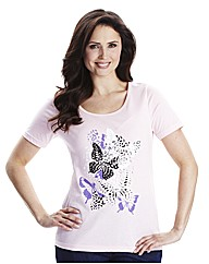 Jersey Top With Butterfly Print Detail