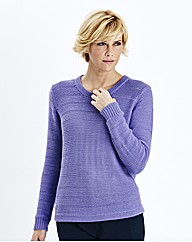 Round Neck Sweater With Open Knit