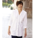 Linen Blend Tunic Blouse Length 29in