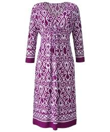 Border Print Jersey Dress Length 41in
