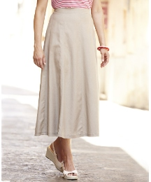 Linen Blend Panelled Skirt Length 29in