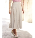 Linen Blend Panelled Skirt Length 32in