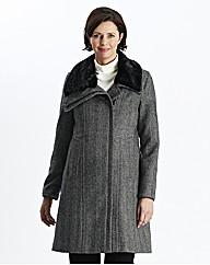 Herringbone Coat With Fur Trim