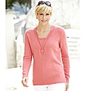 V-Neck Jumper Button Trim Length 25in
