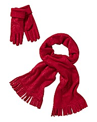 Embossed Scarf And Gloves Set