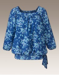 Square Neck Print Blouse