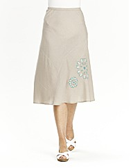 Embroidered Linen Mix Skirt Length 27in