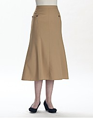 Mock Pocket Skirt With Seam Detail 27in