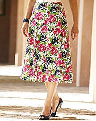 Printed Linen Skirt Length 27in