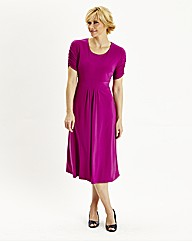 Round Neck Dress With Ruched Sleeve 43in