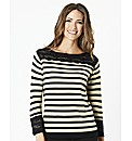 Stripe & Lace Contrast Sweater