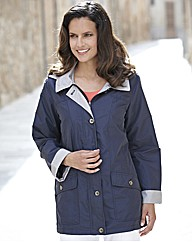 Contrast Jacket With Detachable Hood