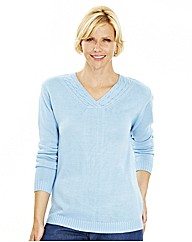 V Neck Sweater With Cable Detail