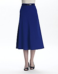 Ponte Panelled Skirt With Belt 29in
