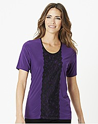 Jersey Top With Lace Trim
