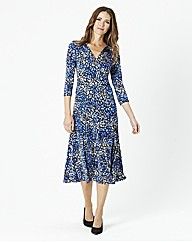 Printed Jersey Dress with Yoke Detail