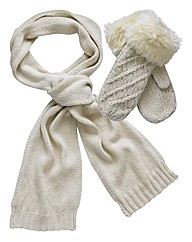 Knitted Mittens & Scarf Set