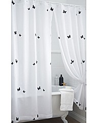 Butterflies Lined Voile Bath Curtain