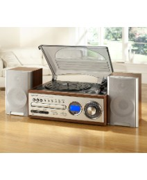 JDW USB Turntable CD Radio - Dark Wood