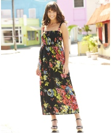 Floral Shirred Maxi Dress