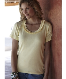 Cotton T-Shirt with Ruffle Neck