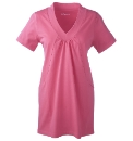 Cotton Jersey Tunic Top with V-Neck