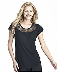 Slub Linen Mix Top With Lace Detail