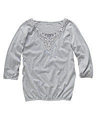 Jersey Top with Lace Detail Length 28in