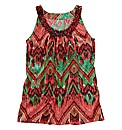 Printed Vest with Beaded Neckline