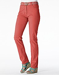 Coloured Straight Leg Jeans Length 25in