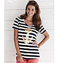 Striped Jersey Top with Anchor Motif