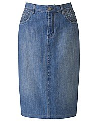 Denim Cotton Pencil Skirt 25in