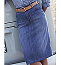 Denim Pencil Midi Skirt 27 in