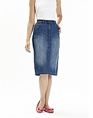 Denim Cotton Pencil Midi Skirt 27 in