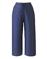 Plain Linen Blend Crop Trousers 19in