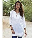 Tunic Blouse with Lace Up Detail