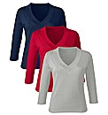 Pack of 3 V -Neck Jersey Tops