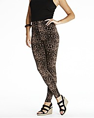 Snakeskin Print Leggings Length 28in