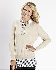 Knitted Tunic Jumper with Spot Collar