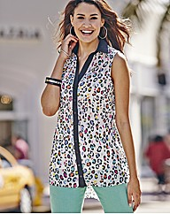 Sleeveless Rainbow Leopard Print Blouse