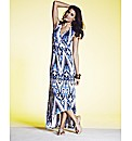 Drop Back Hem Print Maxi Dress