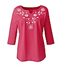 Embroidered Jersey Top Longer Length